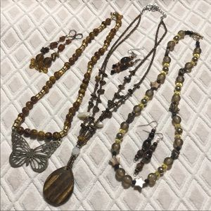 Vintage beaded Tiger Eye pendant Necklace Lot